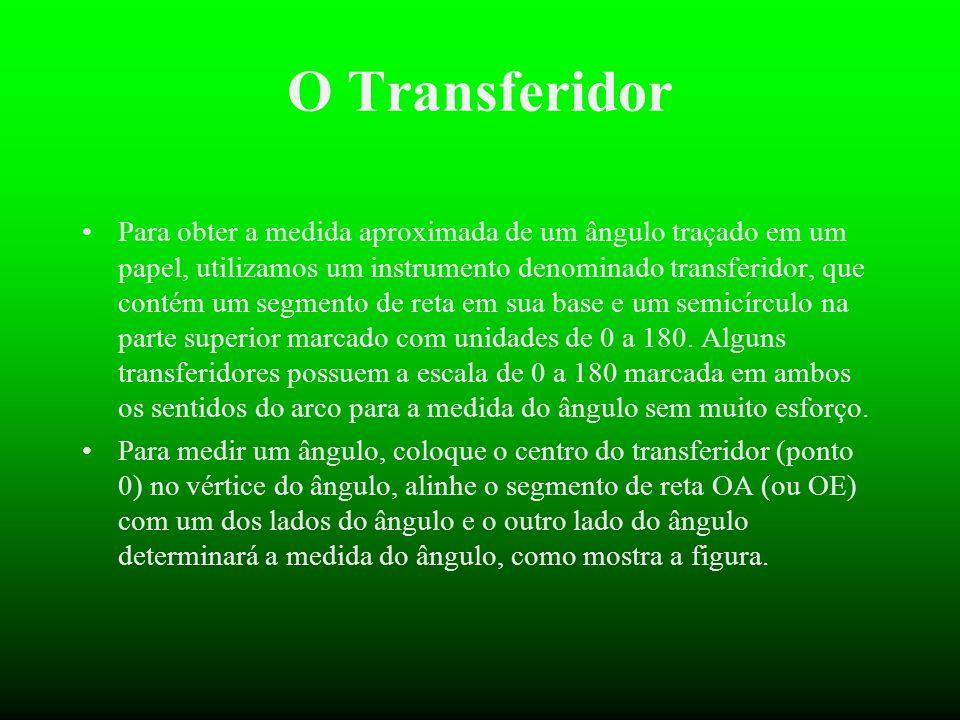 A ferramenta que utilizamos para medir (saber (saber o valor em graus) graus) de um ângulo, chama-se TRANSFERIDOR.