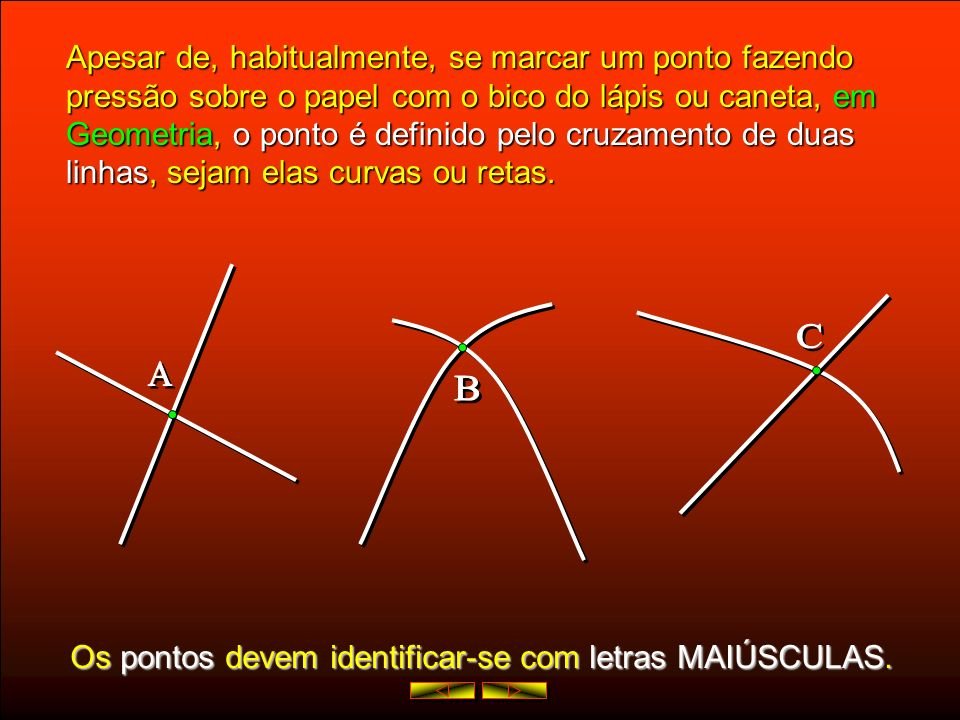 Apesar de, habitualmente, se marcar um ponto fazendo pressão sobre o papel com o bico do lápis ou caneta, em Geometria, Geometria, o ponto é definido pelo cruzamento de duas linhas, linhas, sejam elas curvas ou retas.