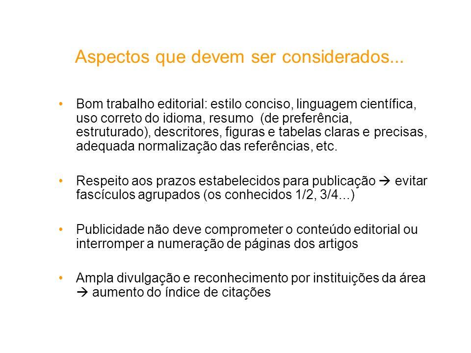 Aspectos que devem ser considerados... Bom trabalho editorial: estilo conciso, linguagem científica, uso correto do idioma, resumo (de preferência, es