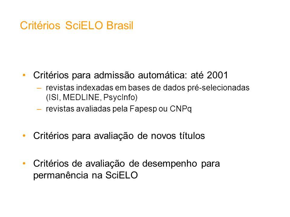 Critérios para admissão automática: até 2001 –revistas indexadas em bases de dados pré-selecionadas (ISI, MEDLINE, PsycInfo) –revistas avaliadas pela