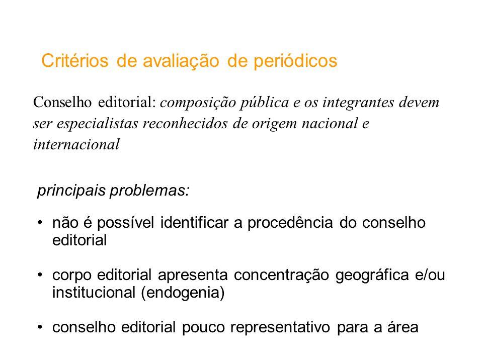 Conselho editorial: composição pública e os integrantes devem ser especialistas reconhecidos de origem nacional e internacional Critérios de avaliação