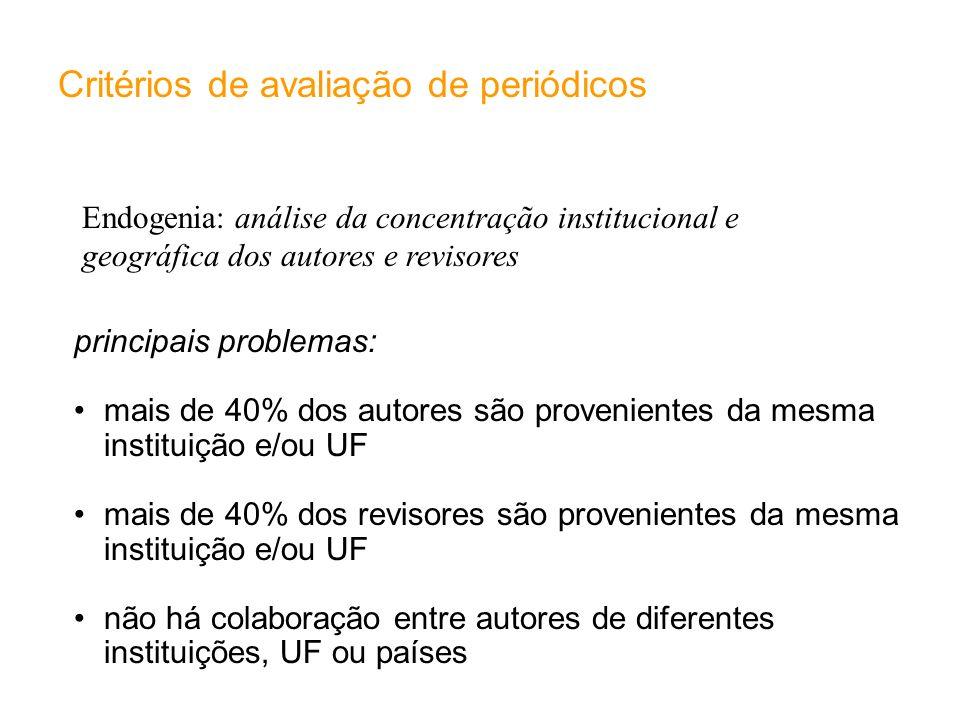 Endogenia: análise da concentração institucional e geográfica dos autores e revisores Critérios de avaliação de periódicos principais problemas: mais