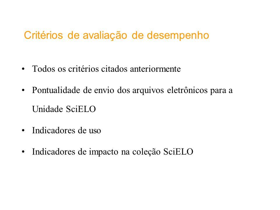 Critérios de avaliação de desempenho Todos os critérios citados anteriormente Pontualidade de envio dos arquivos eletrônicos para a Unidade SciELO Ind
