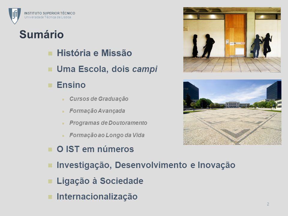 INSTITUTO SUPERIOR TÉCNICO Universidade Técnica de Lisboa 2 História e Missão Uma Escola, dois campi Ensino Cursos de Graduação Formação Avançada Prog