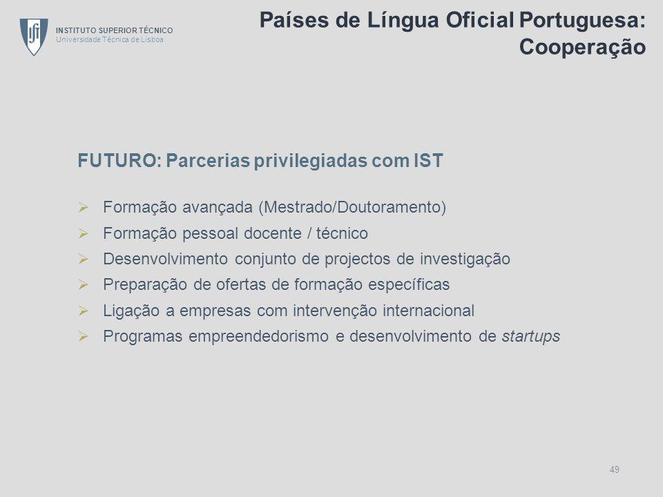 INSTITUTO SUPERIOR TÉCNICO Universidade Técnica de Lisboa 49 FUTURO: Parcerias privilegiadas com IST Formação avançada (Mestrado/Doutoramento) Formaçã