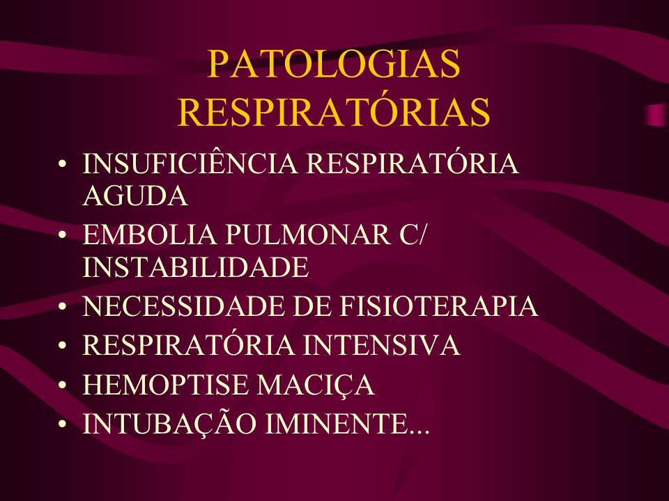 PATOLOGIAS RESPIRATÓRIAS INSUFICIÊNCIA RESPIRATÓRIA AGUDA EMBOLIA PULMONAR C/ INSTABILIDADE NECESSIDADE DE FISIOTERAPIA RESPIRATÓRIA INTENSIVA HEMOPTI
