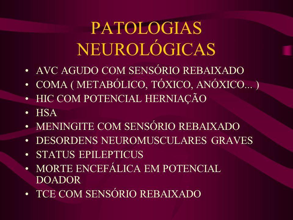PATOLOGIAS NEUROLÓGICAS AVC AGUDO COM SENSÓRIO REBAIXADO COMA ( METABÓLICO, TÓXICO, ANÓXICO... ) HIC COM POTENCIAL HERNIAÇÃO HSA MENINGITE COM SENSÓRI