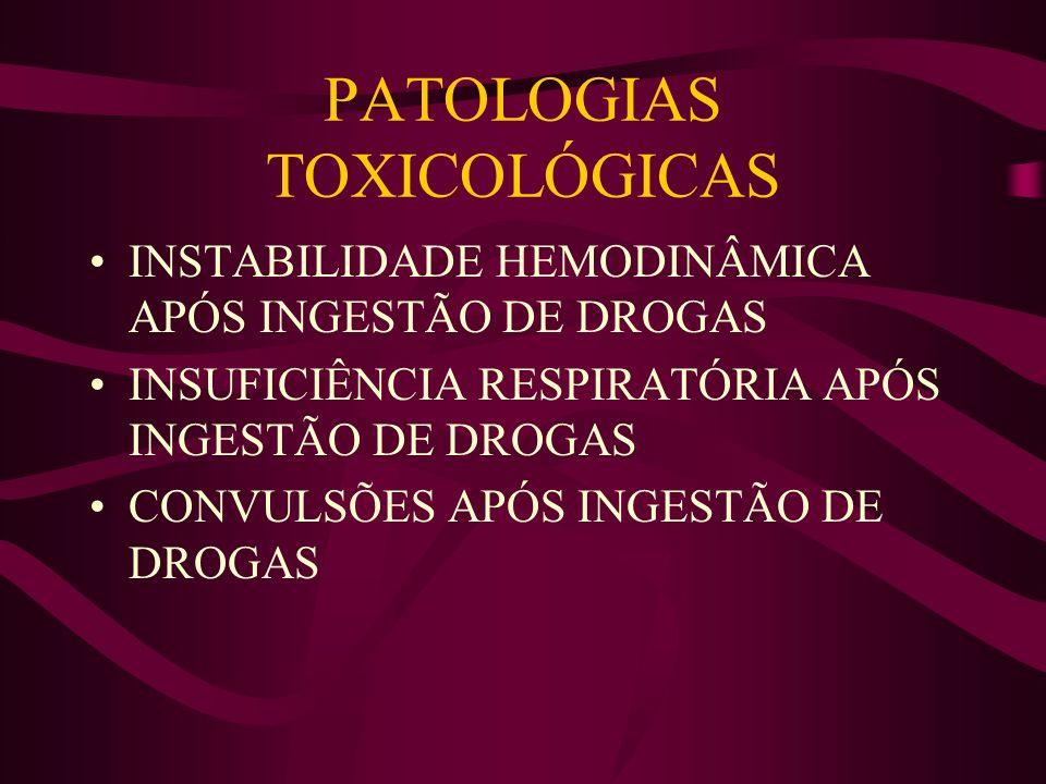 PATOLOGIAS TOXICOLÓGICAS INSTABILIDADE HEMODINÂMICA APÓS INGESTÃO DE DROGAS INSUFICIÊNCIA RESPIRATÓRIA APÓS INGESTÃO DE DROGAS CONVULSÕES APÓS INGESTÃ