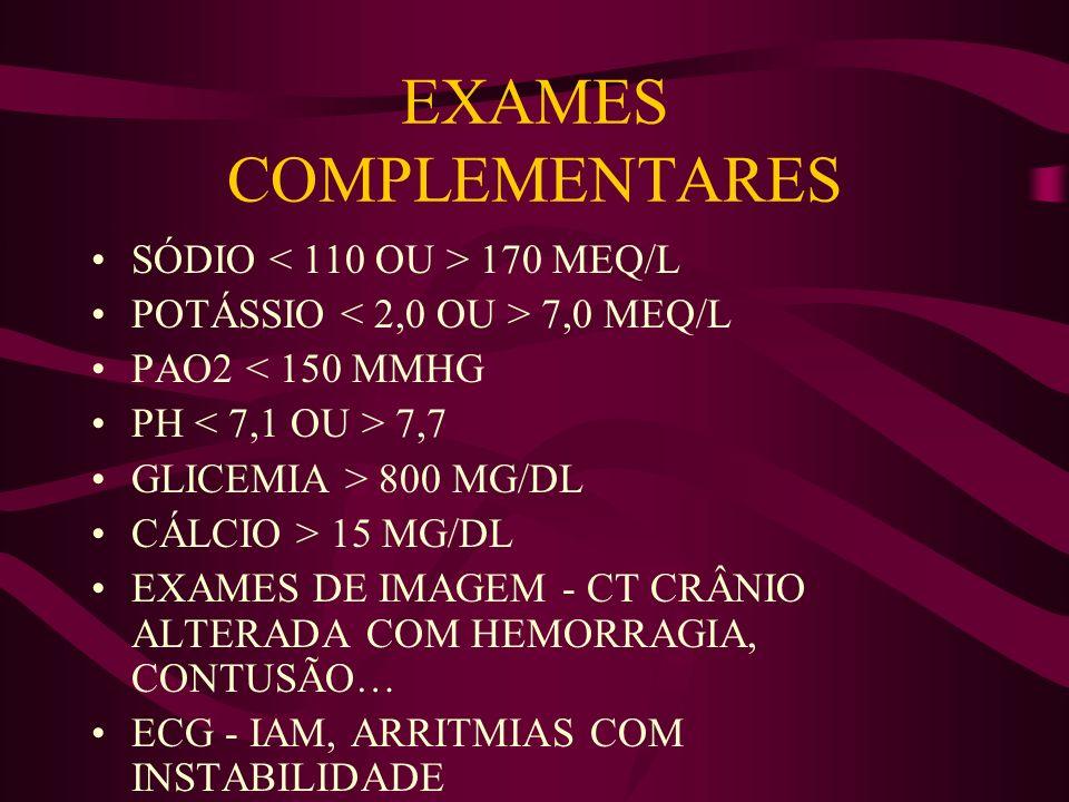EXAMES COMPLEMENTARES SÓDIO 170 MEQ/L POTÁSSIO 7,0 MEQ/L PAO2 < 150 MMHG PH 7,7 GLICEMIA > 800 MG/DL CÁLCIO > 15 MG/DL EXAMES DE IMAGEM - CT CRÂNIO AL