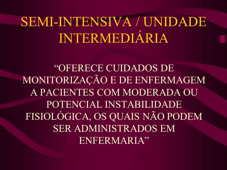 SEMI-INTENSIVA / UNIDADE INTERMEDIÁRIA OFERECE CUIDADOS DE MONITORIZAÇÃO E DE ENFERMAGEM A PACIENTES COM MODERADA OU POTENCIAL INSTABILIDADE FISIOLÓGI