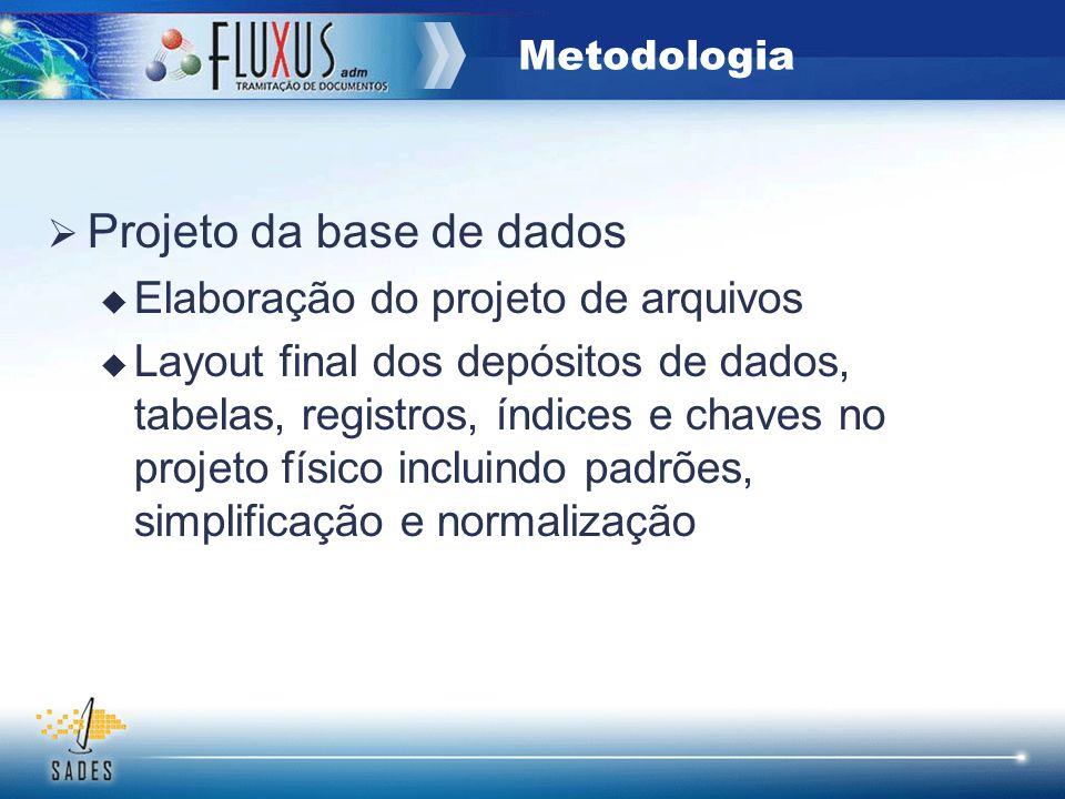 Projeto da base de dados Elaboração do projeto de arquivos Layout final dos depósitos de dados, tabelas, registros, índices e chaves no projeto físico