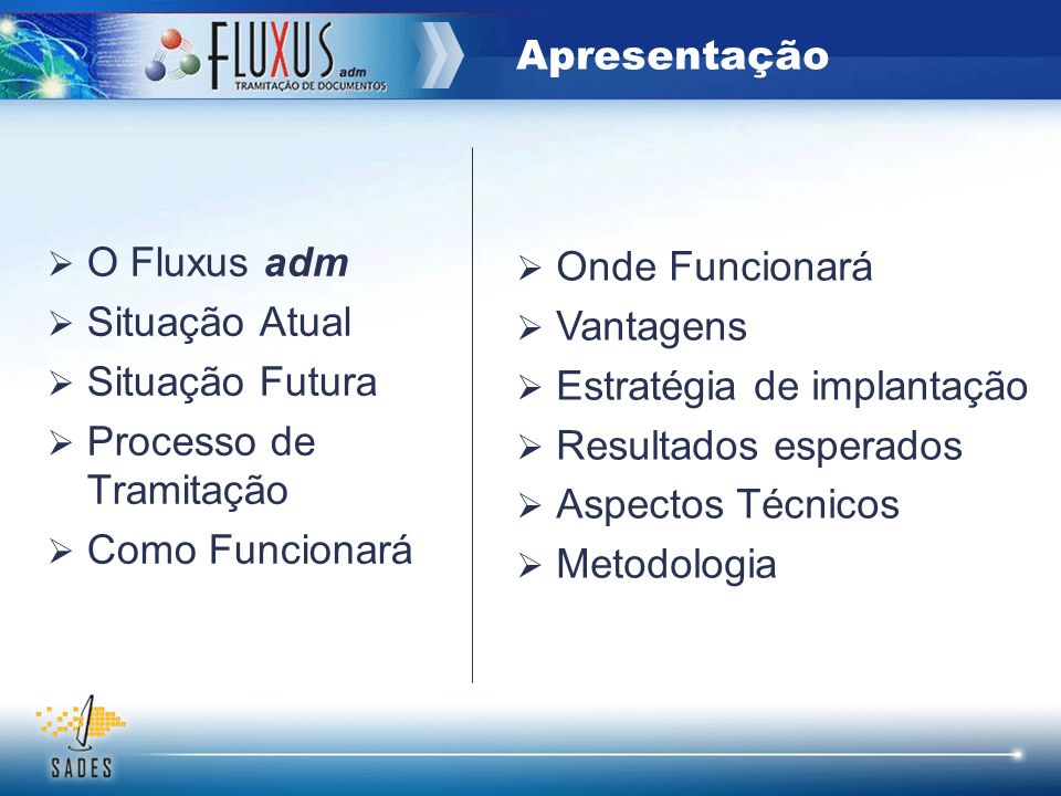 Apresentação O Fluxus adm Situação Atual Situação Futura Processo de Tramitação Como Funcionará Onde Funcionará Vantagens Estratégia de implantação Re