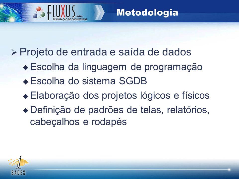 Projeto de entrada e saída de dados Escolha da linguagem de programação Escolha do sistema SGDB Elaboração dos projetos lógicos e físicos Definição de
