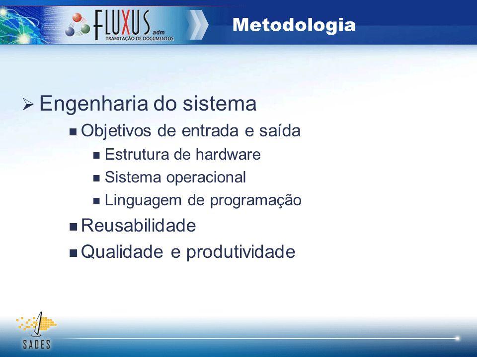 Engenharia do sistema Objetivos de entrada e saída Estrutura de hardware Sistema operacional Linguagem de programação Reusabilidade Qualidade e produt