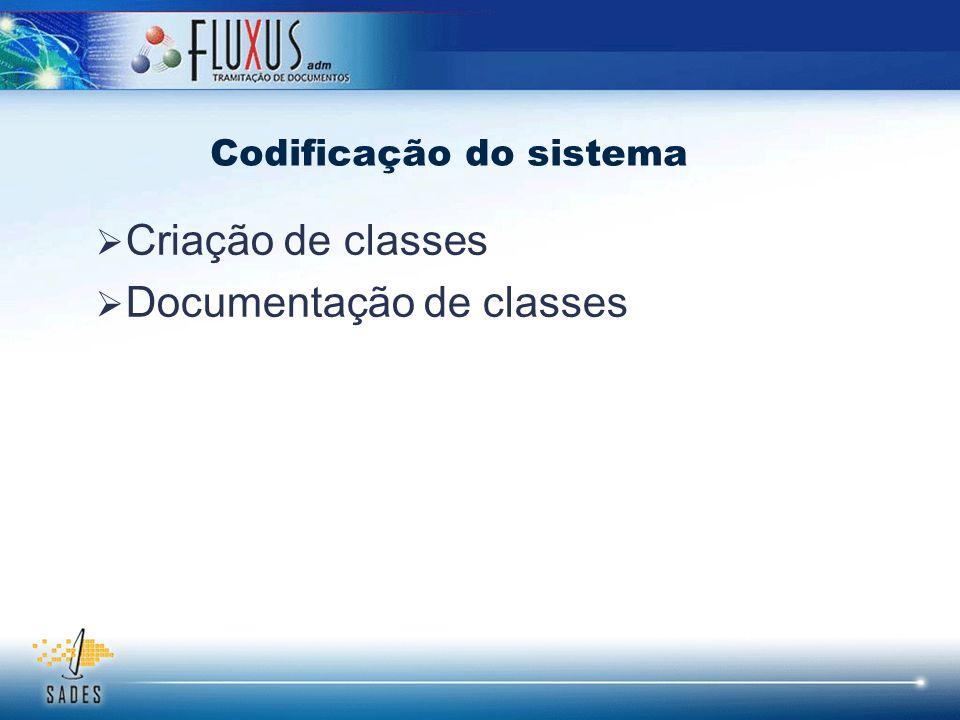 Criação de classes Documentação de classes Codificação do sistema