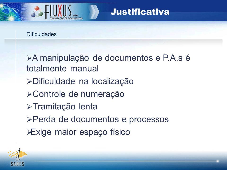 Dificuldades A manipulação de documentos e P.A.s é totalmente manual Dificuldade na localização Controle de numeração Tramitação lenta Perda de docume