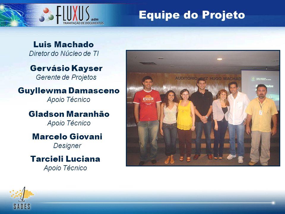Equipe do Projeto Gervásio Kayser Gerente de Projetos Guyllewma Damasceno Apoio Técnico Marcelo Giovani Designer Gladson Maranhão Apoio Técnico Tarcie