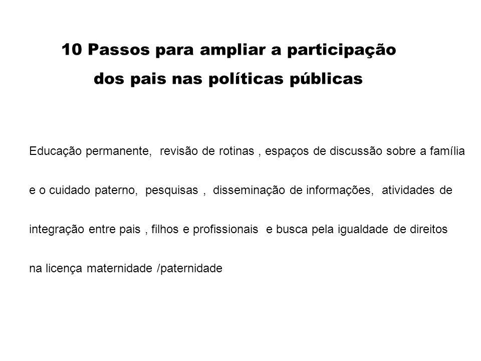 10 Passos para ampliar a participação dos pais nas políticas públicas Educação permanente, revisão de rotinas, espaços de discussão sobre a família e