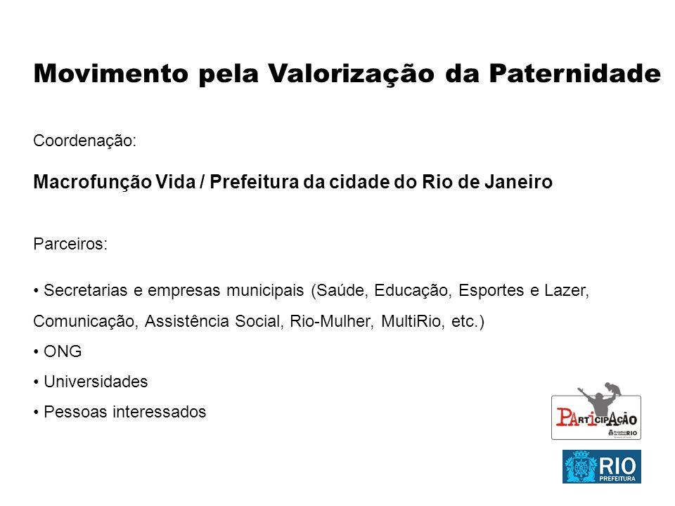 Movimento pela Valorização da Paternidade Coordenação: Macrofunção Vida / Prefeitura da cidade do Rio de Janeiro Parceiros: Secretarias e empresas mun