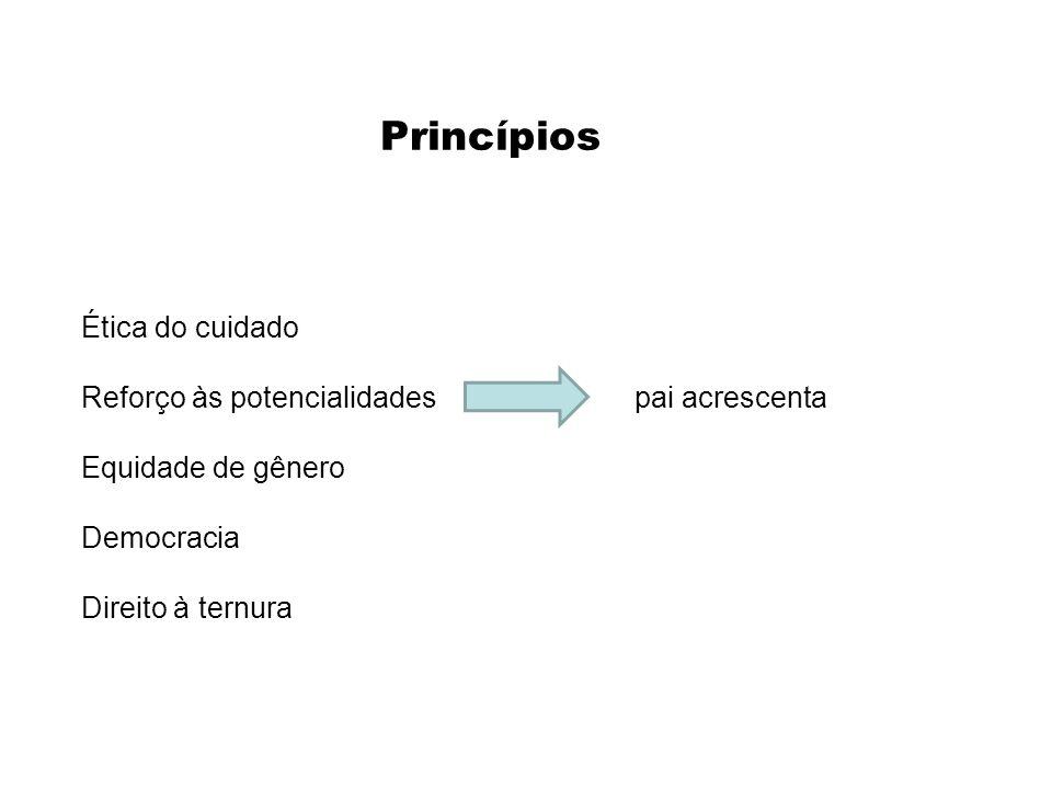 Princípios Ética do cuidado Reforço às potencialidades pai acrescenta Equidade de gênero Democracia Direito à ternura