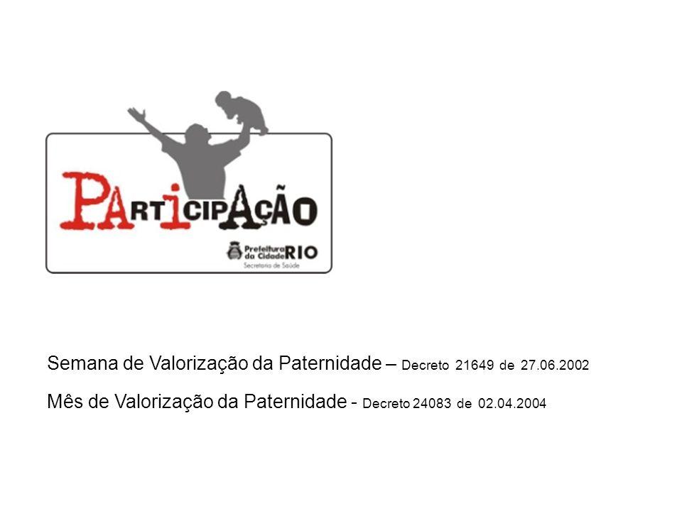 Semana de Valorização da Paternidade – Decreto 21649 de 27.06.2002 Mês de Valorização da Paternidade - Decreto 24083 de 02.04.2004