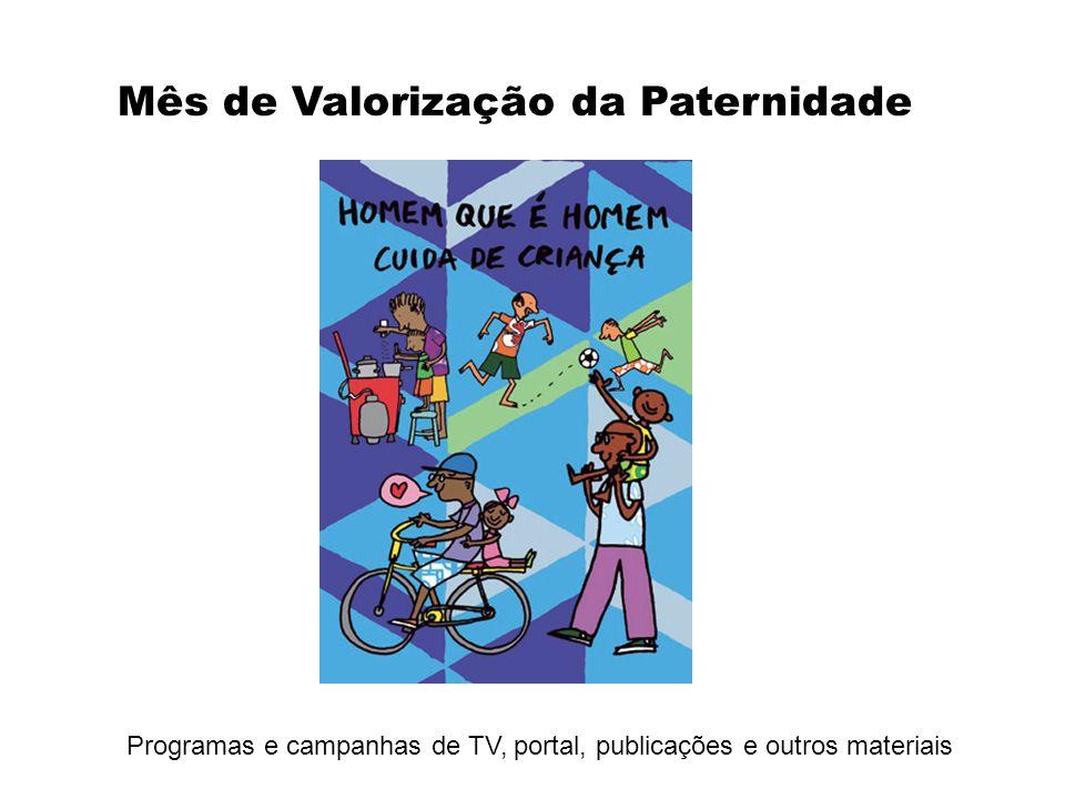 Programas e campanhas de TV, portal, publicações e outros materiais Mês de Valorização da Paternidade