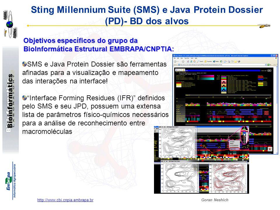 Goran Neshich http://www.cbi.cnpia.embrapa.br Sting Millennium Suite (SMS) e Java Protein Dossier (PD)- BD dos alvos SMS e Java Protein Dossier são fe