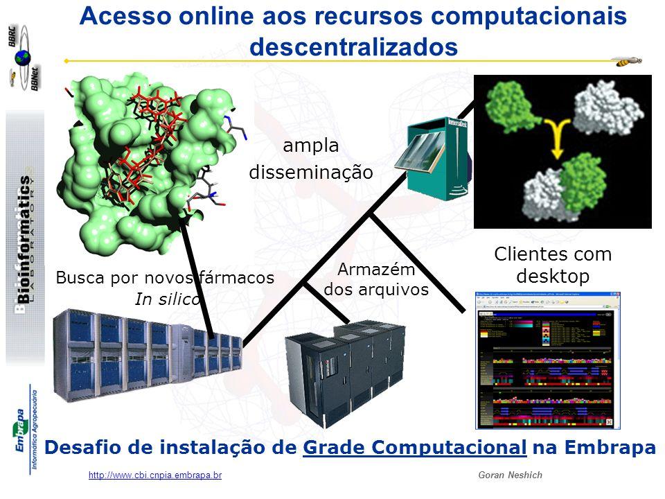 Goran Neshich http://www.cbi.cnpia.embrapa.br Desafio de instalação de Grade Computacional na Embrapa Busca por novos fármacos In silico ampla dissemi