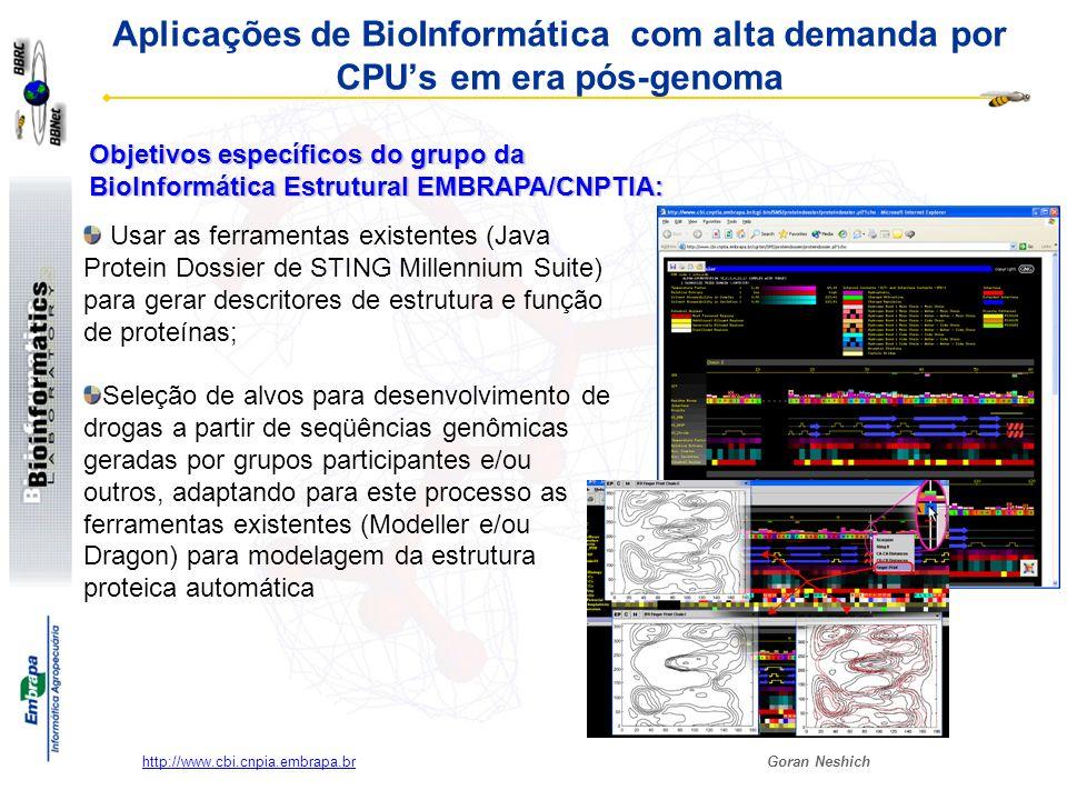 Goran Neshich http://www.cbi.cnpia.embrapa.br ~3000 PCs e dezenas de estações de trabalho do sistema EMBRAPA: ociosos.