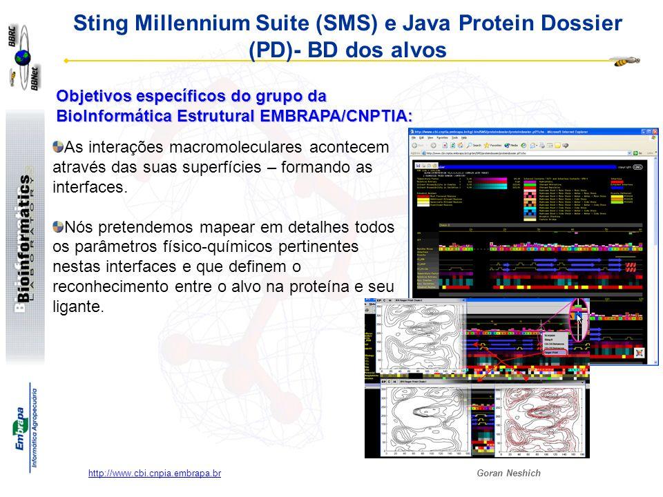 Goran Neshich http://www.cbi.cnpia.embrapa.br Sting Millennium Suite (SMS) e Java Protein Dossier (PD)- BD dos alvos SMS e Java Protein Dossier são ferramentas afinadas para a visualização e mapeamento das interações na interface.