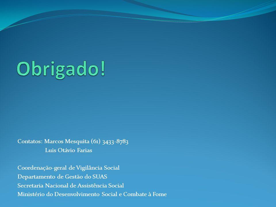 Contatos: Marcos Mesquita (61) 3433-8783 Luis Otávio Farias Coordenação-geral de Vigilância Social Departamento de Gestão do SUAS Secretaria Nacional