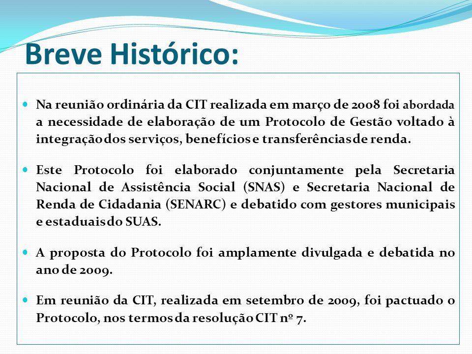 Breve Histórico: Na reunião ordinária da CIT realizada em março de 2008 foi abordada a necessidade de elaboração de um Protocolo de Gestão voltado à i