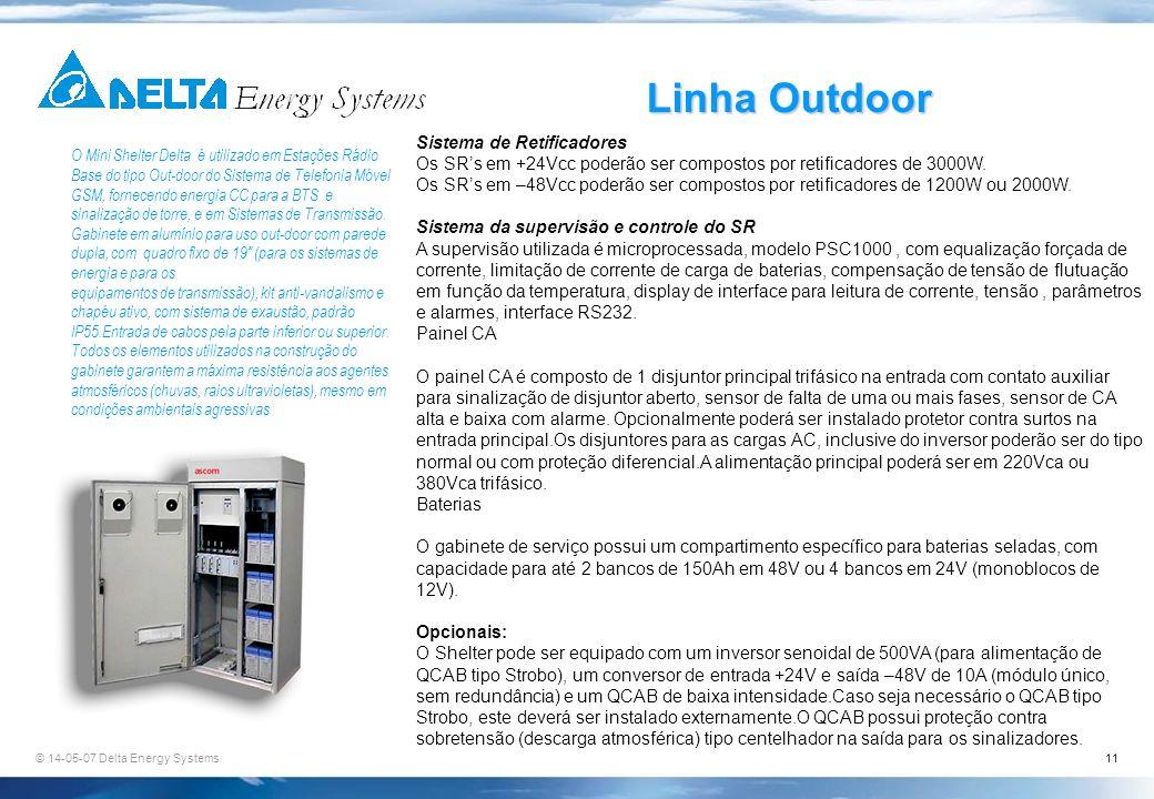 © 14-05-07 Delta Energy Systems11 Linha Outdoor O Mini Shelter Delta é utilizado em Estações Rádio Base do tipo Out-door do Sistema de Telefonia Móvel