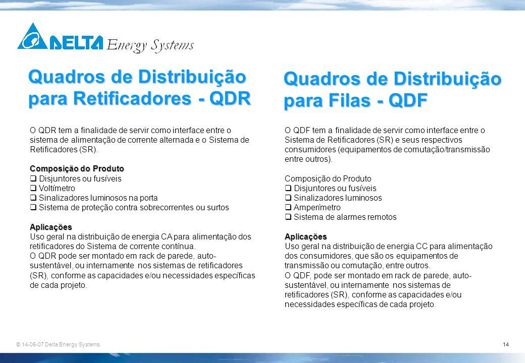 © 14-05-07 Delta Energy Systems14 Quadros de Distribuição para Retificadores - QDR O QDR tem a finalidade de servir como interface entre o sistema de