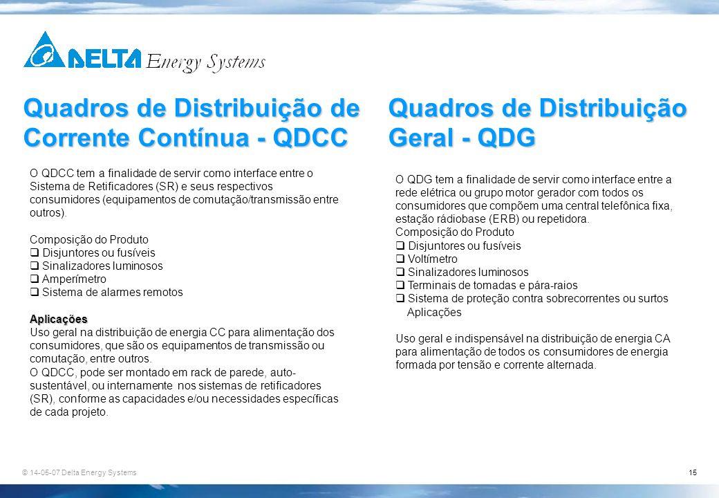 © 14-05-07 Delta Energy Systems15 Quadros de Distribuição de Corrente Contínua - QDCC Quadros de Distribuição Geral - QDG O QDCC tem a finalidade de s
