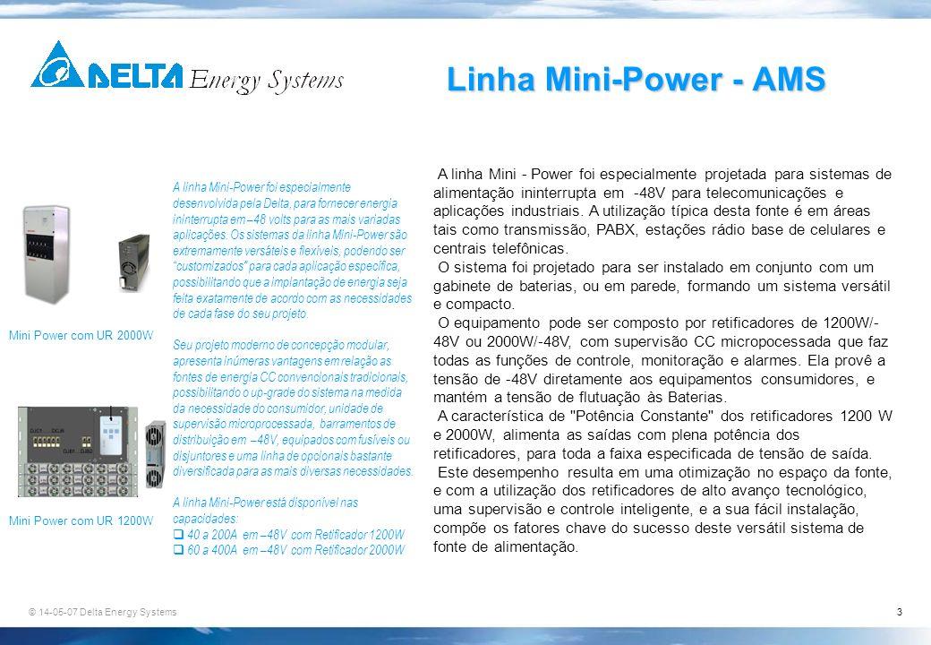 © 14-05-07 Delta Energy Systems3 Linha Mini-Power - AMS Mini Power com UR 2000W Mini Power com UR 1200W A linha Mini-Power foi especialmente desenvolv