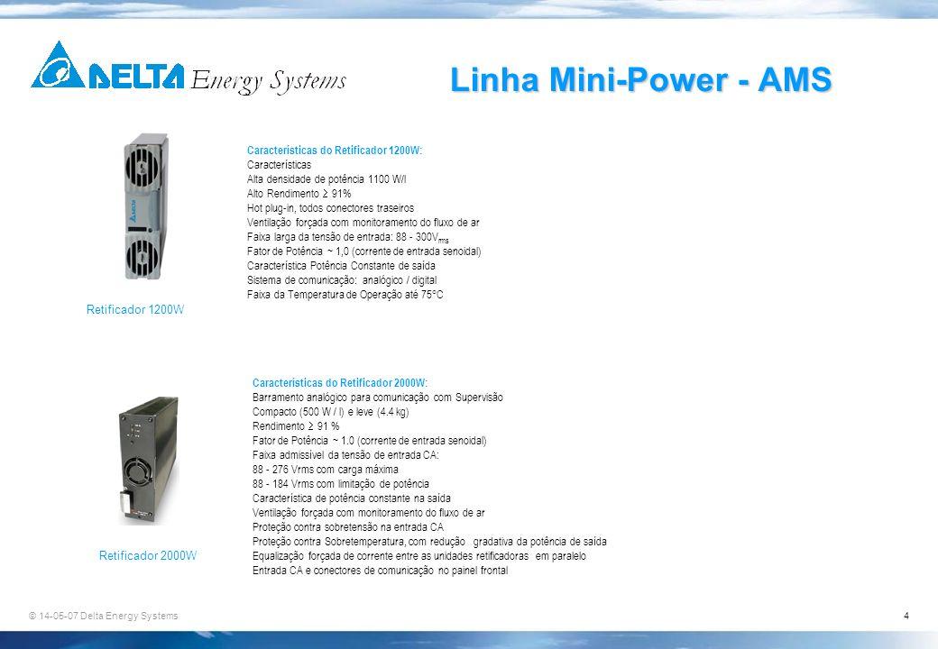 © 14-05-07 Delta Energy Systems4 Linha Mini-Power - AMS Características do Retificador 1200W: Características Alta densidade de potência 1100 W/l Alto