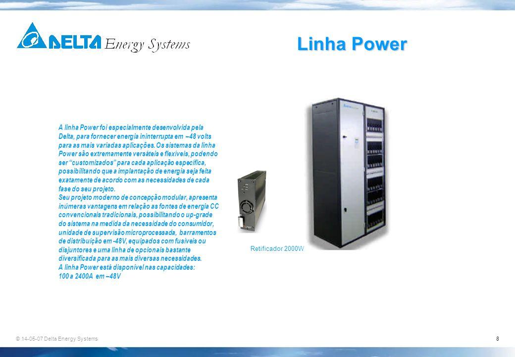 © 14-05-07 Delta Energy Systems8 Linha Power A linha Power foi especialmente desenvolvida pela Delta, para fornecer energia ininterrupta em –48 volts