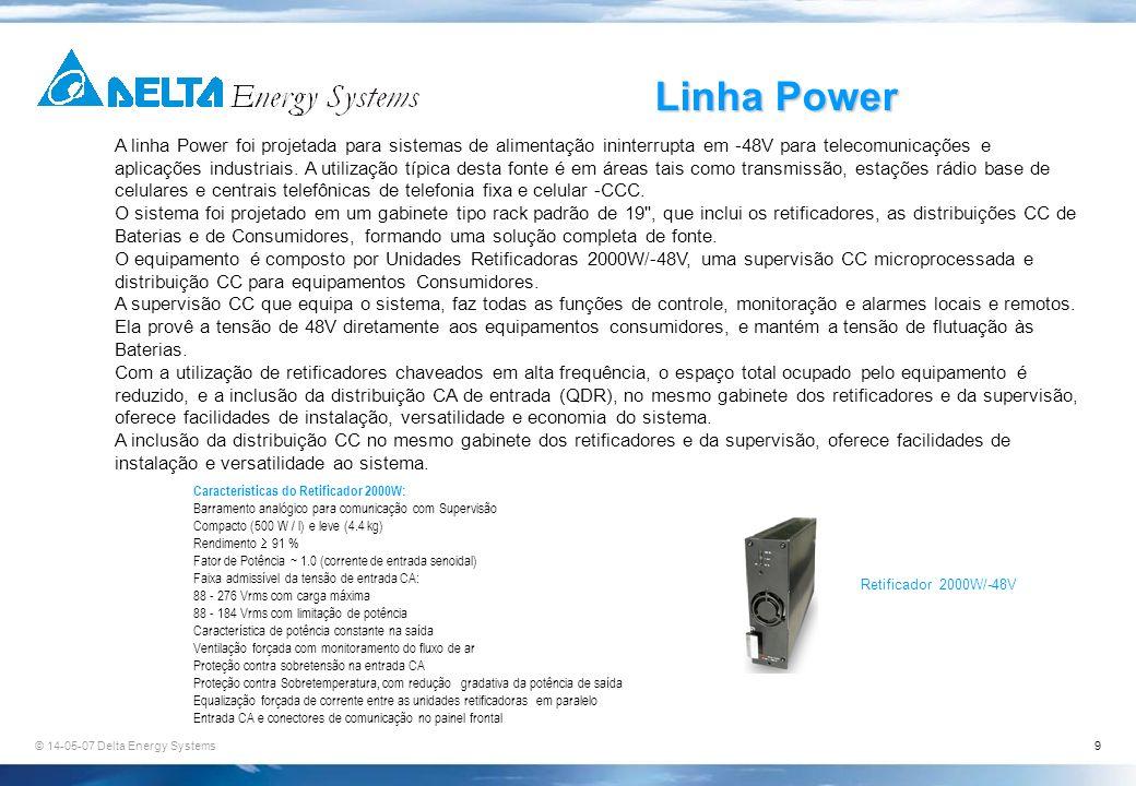 © 14-05-07 Delta Energy Systems9 Linha Power A linha Power foi projetada para sistemas de alimentação ininterrupta em -48V para telecomunicações e apl