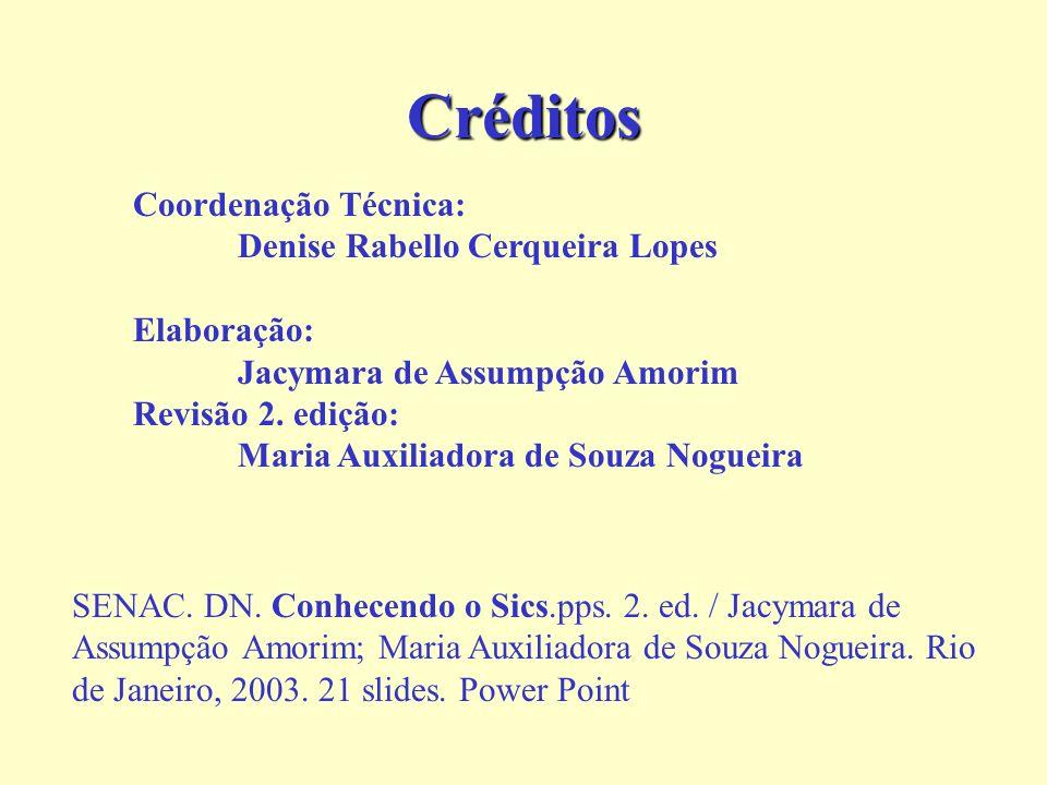 Créditos Coordenação Técnica: Denise Rabello Cerqueira Lopes Elaboração: Jacymara de Assumpção Amorim Revisão 2.