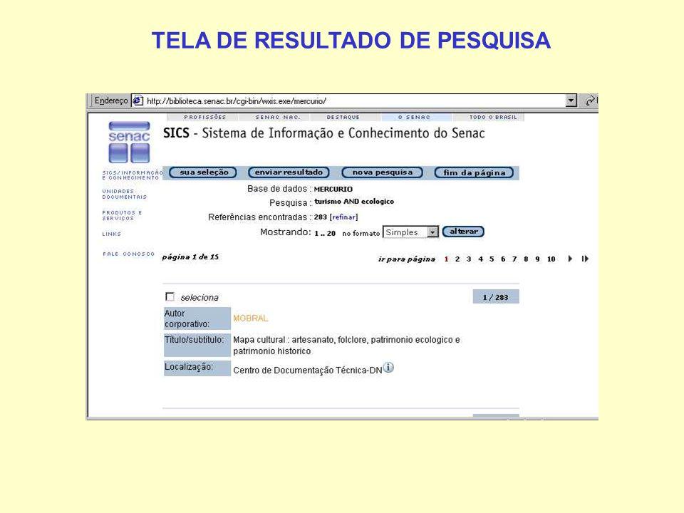 TELA DE RESULTADO DE PESQUISA