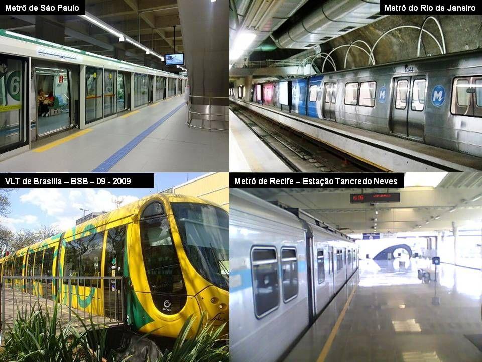 Trens metropolitanos no Brasil: CPTM - Companhia Paulista de Trens Metropolitanos - opera em São Paulo. SUPERVIA - Rio de Janeiro (Privada) CENTRAL -