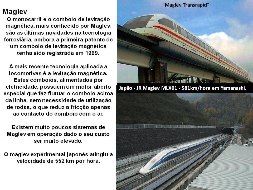 China Railways - CRH2 Um comboio (trem) de levitação magnética ou Maglev (Magnetic levitation transport) é um veículo semelhante a um comboio que tran