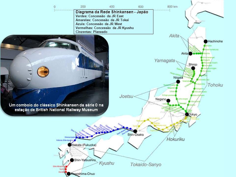 Japão - Território abrangido pelo grupo de empresas Japan Railways que operam a rede Shinkans Ao contrário de linhas mais antigas, o Shinkansen usa a