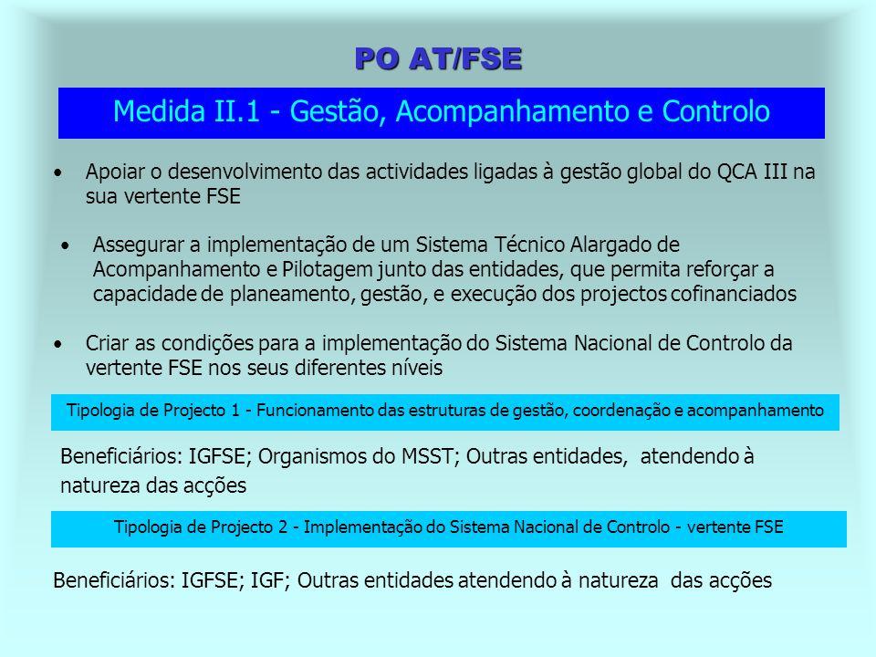 Missão do PO AT/FSE Garantir as condições ao lançamento do QCA III, no âmbito das intervenções do FSE Assegurar a implementação e funcionamento, ao longo do período de programação, dos sistemas e estruturas de coordenação, gestão, acompanhamento, avaliação, controlo e difusão da vertente FSE do QCA Assegurar a concretização dos objectivos propostos e o desempenho eficaz e eficiente das funções em causa, no respeito pelas disposições normativas comunitárias e nacionais aplicáveis Contribuir para a implementação e desenvolvimento de instrumentos que melhorem a qualidade das acções cofinanciadas, que contribuam para a estruturação do sistema de formação profissional e, consequentemente, que reforcem o aproveitamento eficiente dos recursos disponibilizados pelo Fundo Social Europeu