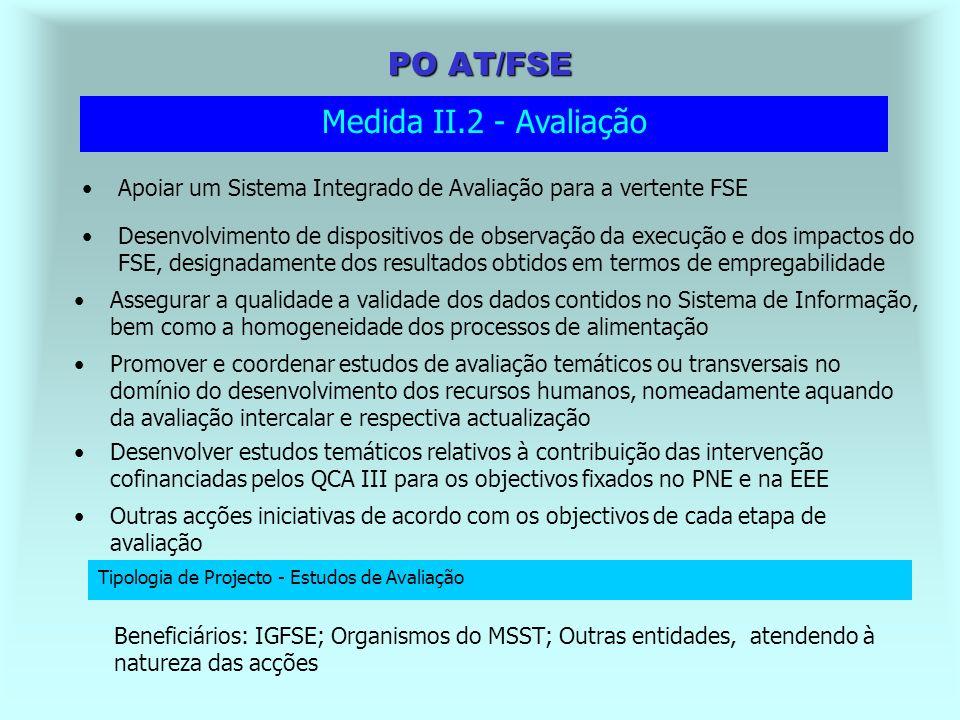 PO AT/FSE Beneficiários: IGFSE; IGF; Outras entidades atendendo à natureza das acções Criar as condições para a implementação do Sistema Nacional de Controlo da vertente FSE nos seus diferentes níveis Medida II.1 - Gestão, Acompanhamento e Controlo Tipologia de Projecto 1 - Funcionamento das estruturas de gestão, coordenação e acompanhamento Tipologia de Projecto 2 - Implementação do Sistema Nacional de Controlo - vertente FSE Apoiar o desenvolvimento das actividades ligadas à gestão global do QCA III na sua vertente FSE Assegurar a implementação de um Sistema Técnico Alargado de Acompanhamento e Pilotagem junto das entidades, que permita reforçar a capacidade de planeamento, gestão, e execução dos projectos cofinanciados Beneficiários: IGFSE; Organismos do MSST; Outras entidades, atendendo à natureza das acções