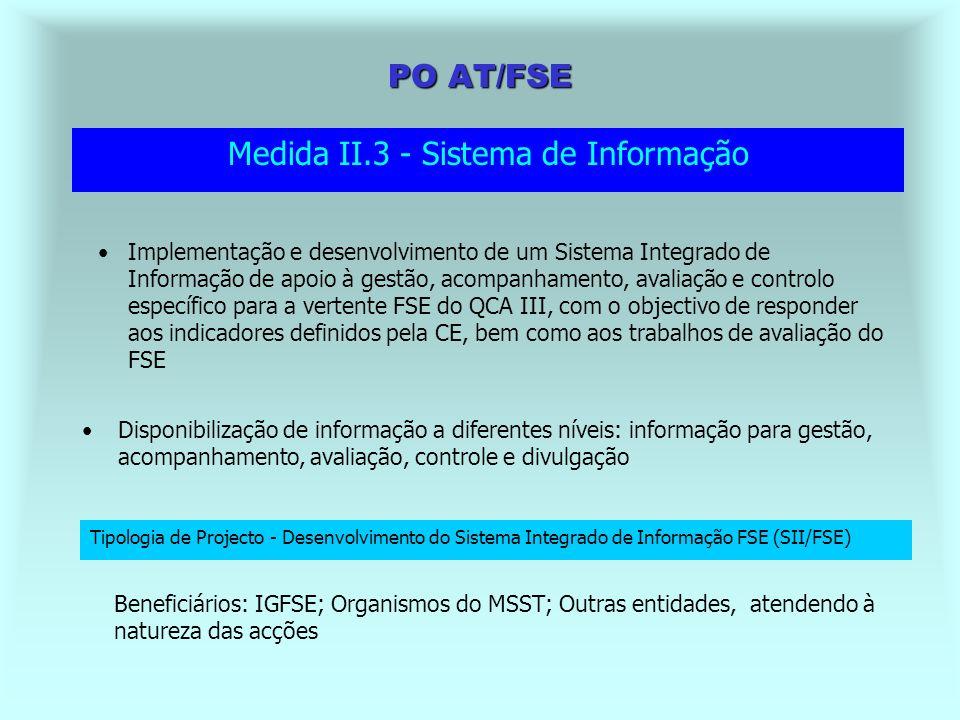 PO AT/FSE Outras acções iniciativas de acordo com os objectivos de cada etapa de avaliação Medida II.2 - Avaliação Tipologia de Projecto - Estudos de Avaliação Beneficiários: IGFSE; Organismos do MSST; Outras entidades, atendendo à natureza das acções Apoiar um Sistema Integrado de Avaliação para a vertente FSE Desenvolvimento de dispositivos de observação da execução e dos impactos do FSE, designadamente dos resultados obtidos em termos de empregabilidade Assegurar a qualidade a validade dos dados contidos no Sistema de Informação, bem como a homogeneidade dos processos de alimentação Promover e coordenar estudos de avaliação temáticos ou transversais no domínio do desenvolvimento dos recursos humanos, nomeadamente aquando da avaliação intercalar e respectiva actualização Desenvolver estudos temáticos relativos à contribuição das intervenção cofinanciadas pelos QCA III para os objectivos fixados no PNE e na EEE