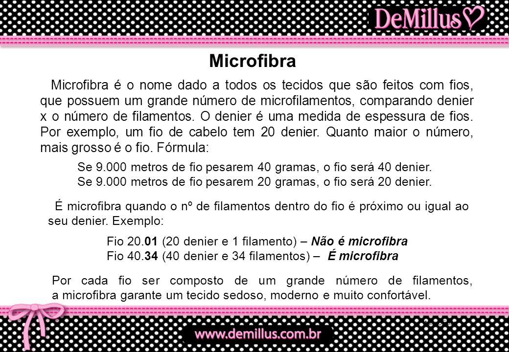 Microfibra Microfibra é o nome dado a todos os tecidos que são feitos com fios, que possuem um grande número de microfilamentos, comparando denier x o