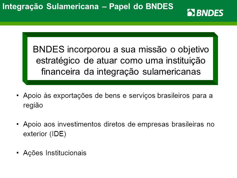 Integração Sulamericana – Papel do BNDES BNDES incorporou a sua missão o objetivo estratégico de atuar como uma instituição financeira da integração sulamericanas Apoio às exportações de bens e serviços brasileiros para a região Apoio aos investimentos diretos de empresas brasileiras no exterior (IDE) Ações Institucionais
