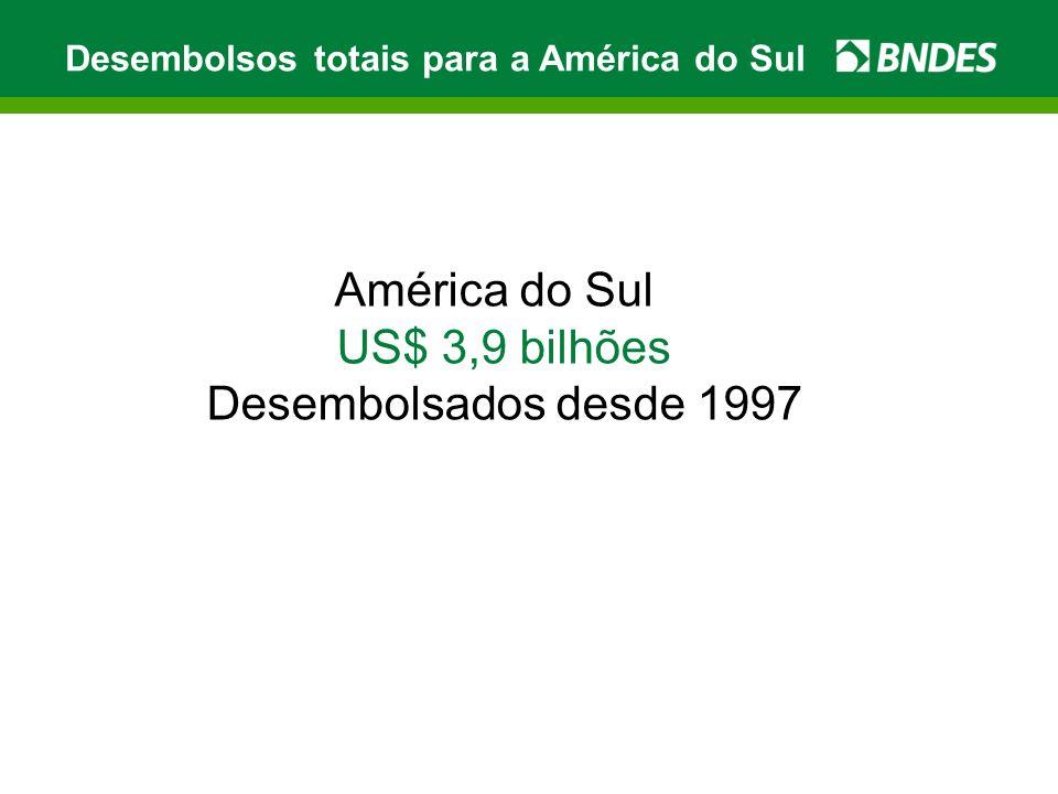 América do Sul US$ 3,9 bilhões Desembolsados desde 1997 Desembolsos totais para a América do Sul